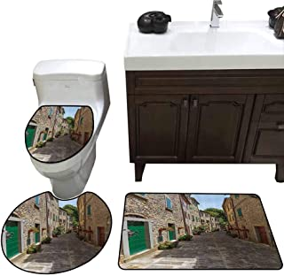 U-Shaped Toilet Floor Rug Set Wanderlust Decor Collection Old Street with Flowers in Italy Alley Stone Tree Europe Tourist Attractions Picture Custom Made Rug Set Green Ivory