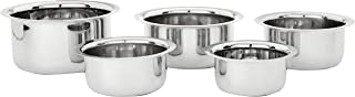 Amazon Brand - Solimo Stainless Steel Tope Set (5 pieces, 420 ml, 550 ml, 840 ml, 1150 ml and 1550 ml, Induction and Gas c...