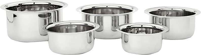 Amazon Brand - Solimo Stainless Steel Tope Set (5 pieces, 425ml, 550ml, 850ml, 1250ml and 1500ml, Induction and Gas compatible)