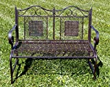 Krippenbaustudio Böhner Exklusive Gartenbank Santos, ergonomische Sitzfläche, Sitzbank Stabiler Metallausführung, 114 x 50 cm