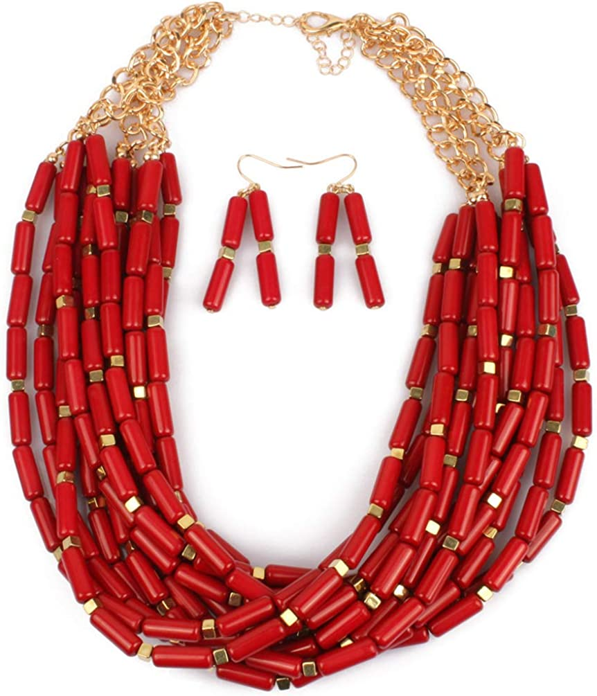 Thkmeet Red Beaded Cluster Multi-Layer Strand Chunky Statement Necklace Earring Women Bohemian Jewelry Set
