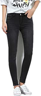 Black Color Mid Waist Full Length Washing Skinny Women Stretch Women Jeans