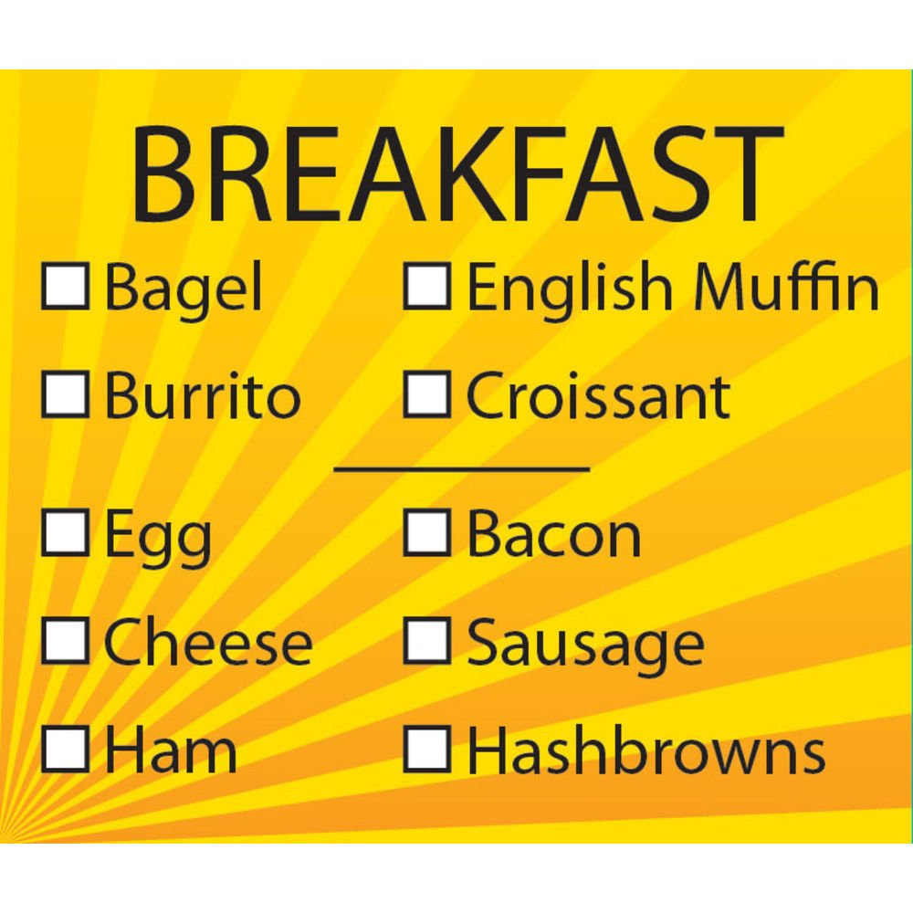 Breakfast Sandwich Label Check Off Imprint Direct store - Black Style Yellow New product