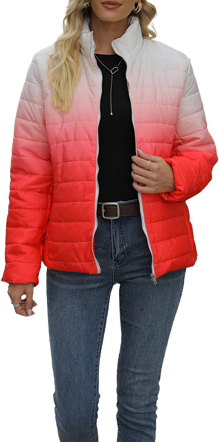 UANEO Womens Ombre Quilted Puffer Jacket Packable Zip Up Stand Collar Down Coats (Red-L)