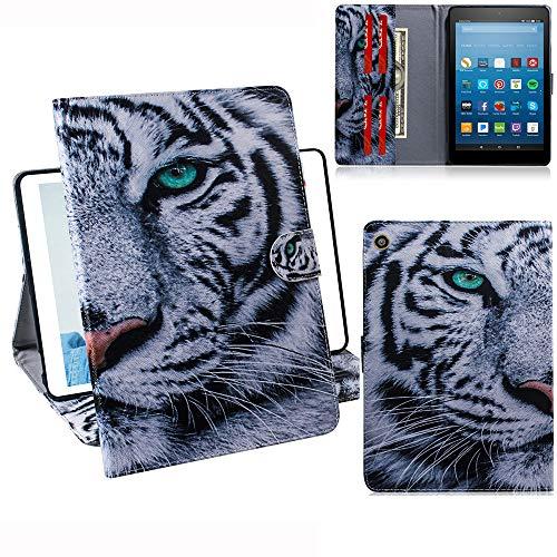 DodoBuy Amazon Fire HD 8 2016/2017/2018 Hülle PU Leder Tasche Schutzhülle Cover Hülle Wallet Brieftasche Standfunktion mit Kartenfächer Magnetverschluss für Amazon Fire HD 8 2016/2017/2018 - Tiger