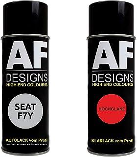 Alex Flittner Designs Autolack Spraydose Set für SEAT F7Y RODIUM GRAU Metallic Basislack Klarlack Sprühdose 400ml