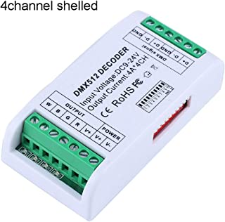 decodificador de 4 canales DMX RGBW, DC9-24V 4A RGBW RGB, controlador de luz DMX 512 Dimmer decodificador controlador para tiras LED módulo con caja de plástico