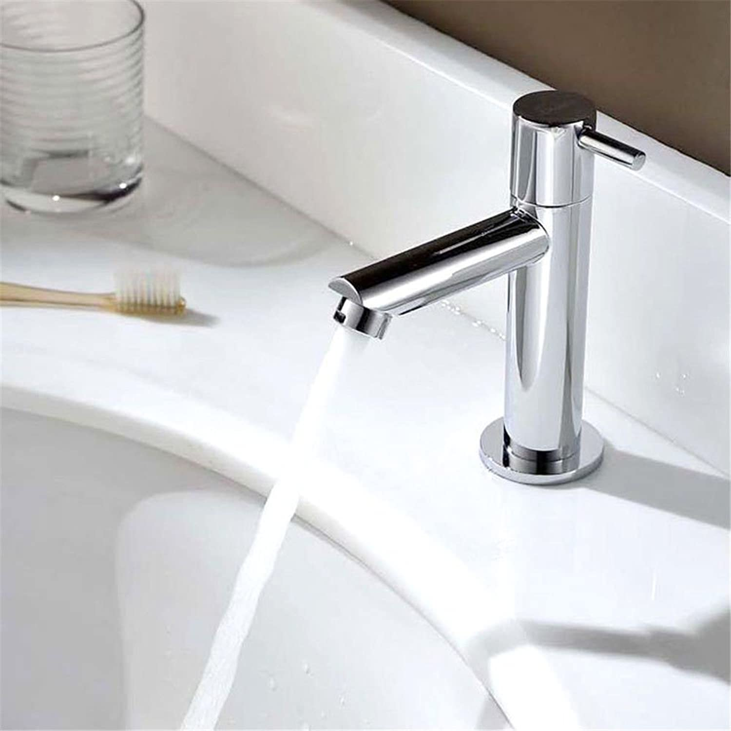 ETERNAL QUALITY Bathroom Sink Basin Tap Brass Mixer Tap Washroom Mixer Faucet Basin Mixer Taps full copper single cold basin faucet single on-the-water faucet Kitchen Sin