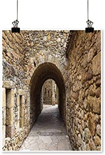 Modern Painting Medieval Ancient Historic Street with Stone Walls in Pals Girona Catalonia Spai Bedroom Office Wall Art Home,12