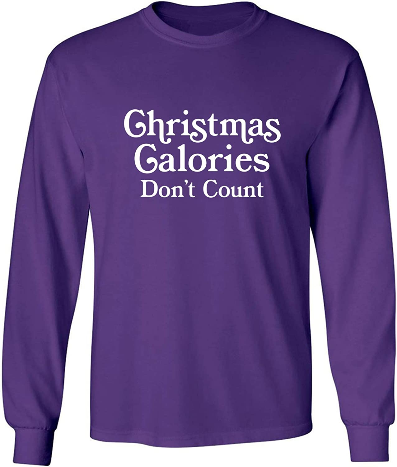 Christmas Calories Don't Count Adult Long Sleeve T-Shirt in Purple - XXX-Large