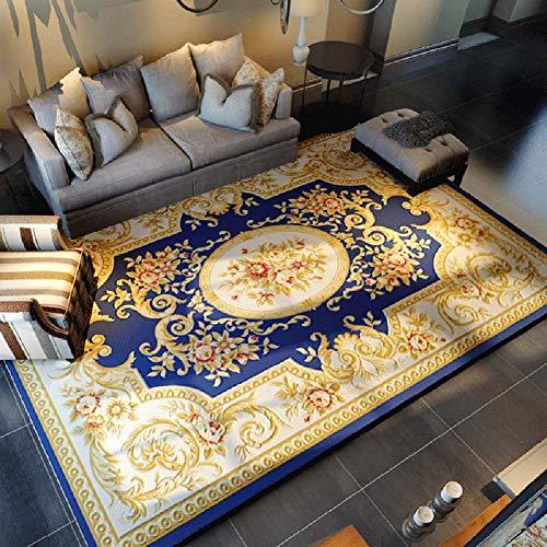 Teppich _ Europäische persische geschnitzte Blumenmatte Traditioneller Teppich - 100% Polypropylen Anti-Milbe Esstisch für Wohnzimmer Sofa Einfach zu säubern Beige/Rot/Blau Mehrere Größen (120×160 cm)