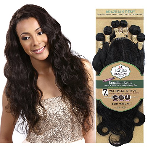 "BobbiBoss Bonela Unprocessed Brazilian Remy Hair Weave - BODY WAVE 7PCS (16"", 18"", 20"") - Natural"