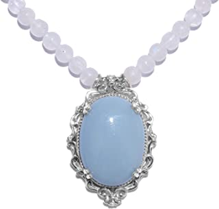 Blue Opal Pendant with Beaded Statement Necklace 18