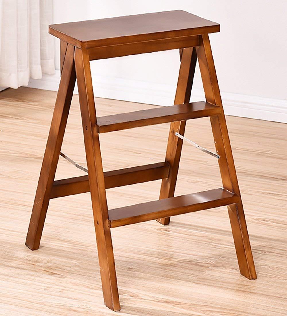 Kewei - Escalera plegable de 3 peldaños de madera con diseño de espiguilla para cocina, 3 colores opcionales, 39 x 20 x 64 cm, color madera: Amazon.es: Iluminación