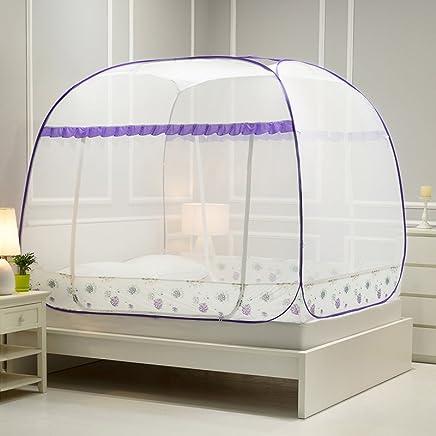 南极人 蒙古包蚊帐免安装三开门有底拉链1.5/1.8m2.0米床双人家用 【回型有底】铃兰雨:紫色 1.2m(4英尺)床