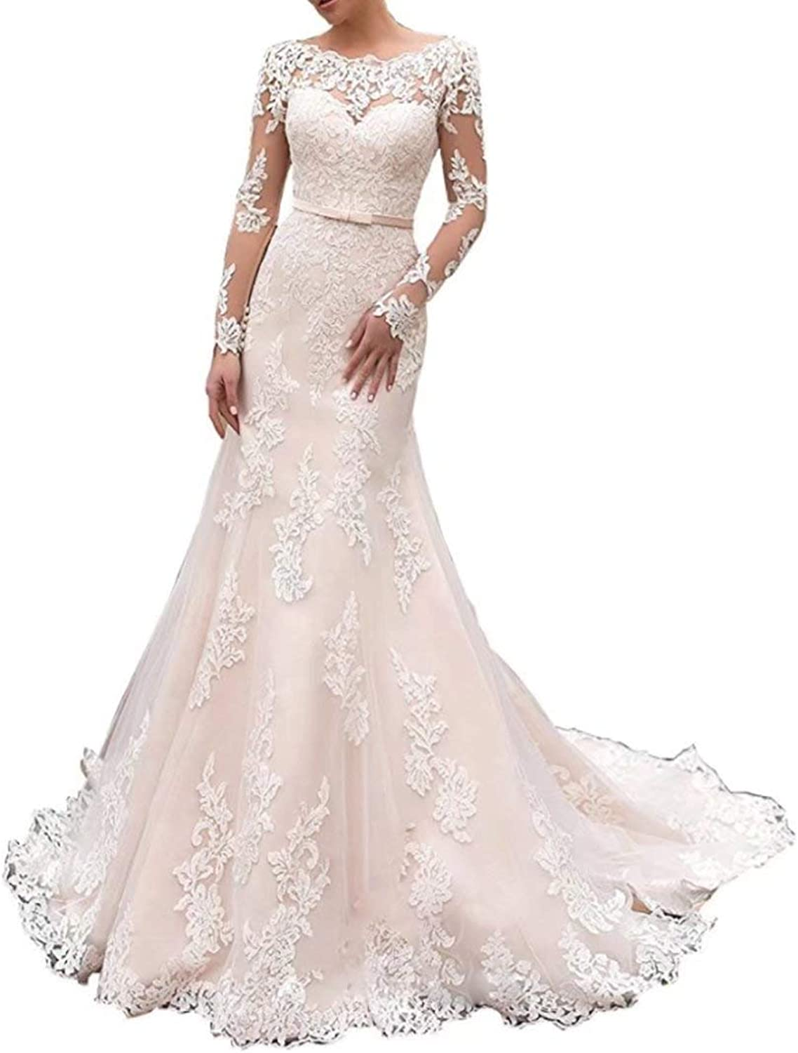 Yilian Lace Mermaid Sexy Slim Illusion Long Sleeves Appliques Backless Wedding Dresses for Bridal Gowns