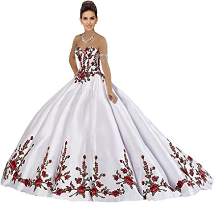 0bdd5d00f4 Luxury Red and Green Embroidered Quinceanera Dresses Prom Strapless Ball Gowns  Formal Dress Gradaution