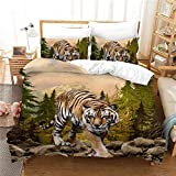 ACJIA 3D Tiger lecho, Animal en la Naturaleza Impreso para Muchachos de los niños Adolescentes Duvet Cover Set 3 Piezas,A,264 * 239cm