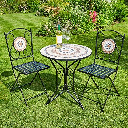 Home Source Mosaic Bistro Set Outdoor Patio Garden Furniture Table and 2 Chairs Metal Frame (Sunflower)