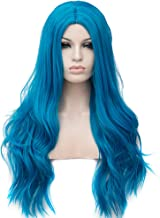 BERON Long Wavy Charming Full Synthetic Wigs for Women Girls Natural Curly Wigs with Wig Cap (Ocean Blue)