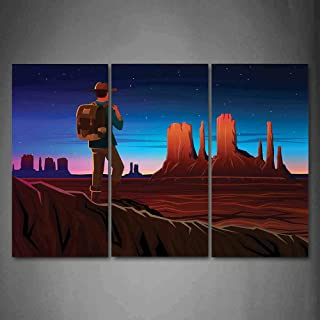 Hanging Wall Art Oil Painting 3 Panel,Southwestern 3D Picture Print,Monument Alley with Early Daylight Tourist on a Hill Camping Traveling Cartoon,Home Decoration Wall Decor Gift,Multicolor ,Indoor/Li