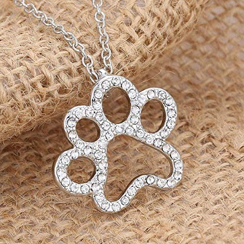 LBBYMX Co.,ltd Necklace Fashion Dog Paw Prints Pendant Necklace Personalized Charm Fashion Jewelry Silver Plated Black and White Crystal Rhinestone Dog Paw