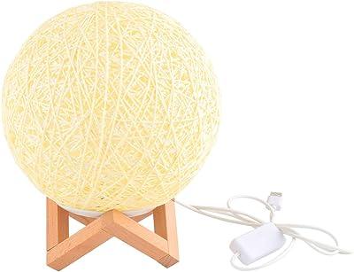 Uonlytech Lampe de chevet à LED en rotin avec support en bois, lampe de bureau pour chambre à coucher de maison (1 pièce beige)