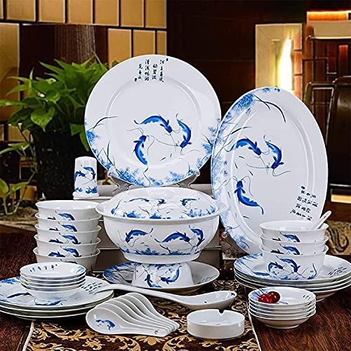 Juego de Platos, Juegos de vajilla de porcelana de 56 piezas Platos de cerámica Conjuntos de cena, platos de cena y cuencos, macetas y platillos, un servicio seguro de lavavajillas para microondas par