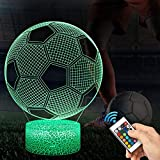 Lampada Calcio 3D con Controllo Remoto, QiLiTd Lampade Notturna LED 5 Luminosità + Muliticolore Regolabile RGB Luce Notturna da Comodino con Controllo Tattile per Regalo di Compleanno e Natale