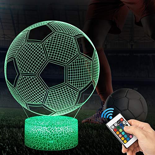 3D Fußball Lampe LED Nachtlicht mit Fernbedienung, QiLiTd 16 Farben Wählbar Dimmbare Touch Schalter USB Nachtlampe Geburtstag Geschenk, Frohe Weihnachten Geschenke Für Mädchen, Männer, Frauen, Kinder