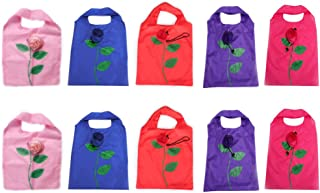 BONAMART 10 Newly Assorted Colors Rose Reusable Foldable Shopping ECO Bags with pouch shoulder Tote Wholesale