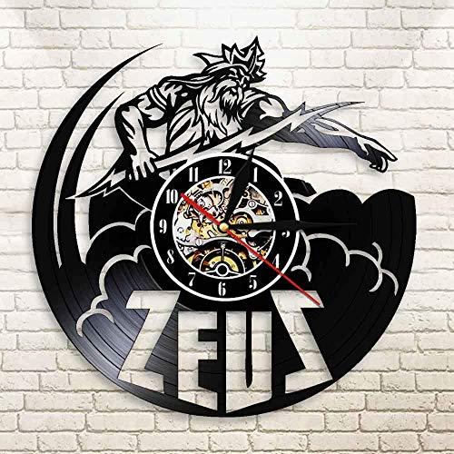 AGGG con Led Mitología Griega Zeus Art Retro Disco de Vinilo Iluminación Led Trueno y relámpago Su Evento Reloj de Pared Regalo de cumpleaños Retro