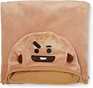 LINE FRIENDS BT21 Official Merchandise SHOOKY Character Hooded Throw Blanket for Indoor/Outdoor, Brown