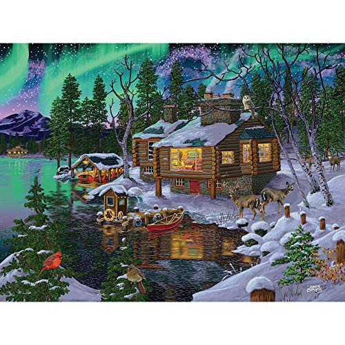Bits and Pieces - 300 Piece Jigsaw Puzzle for Adults 18' X 24' - Northern Lights Cabin - 300 pc Edge of a Lake Winter Cabin in The Woods Snowy Cabin Forest Animals Jigsaw by Artist Joseph Burgess