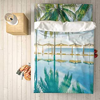Landscape Soft 4 Piece Bedding Set,Pool by The Beach with Seasonal Eden Hot Sunny Humid Coastal Bay Photography for Bedroom,One Side Print : Singe