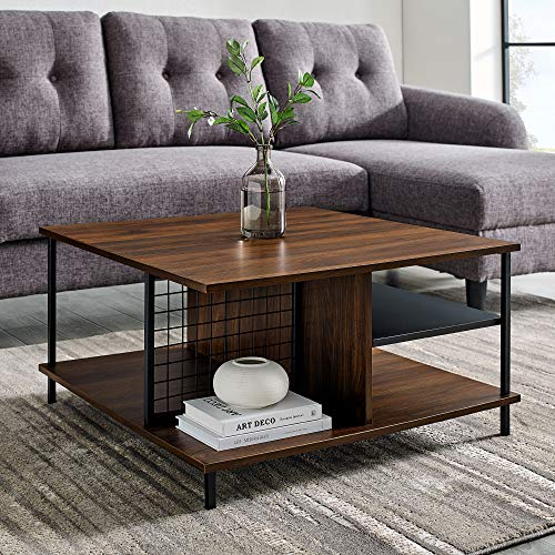 Walker Edison Metal and Wood Square Coffee Table Living Room Accent Ottoman Storage Shelf, 30 Inch, Dark Walnut Brown
