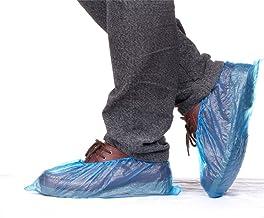 Vanker 100 unidades desechables de plástico azul impermeable al agua Cubre zapatos cubrezapatos cubrezapatos, cubierta