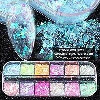 12グリッド3Dフレーク蛍光ネイルスパンコールフラキングネイルチャンキーキラキラデコレーションネイルアクセサリー liuqiang (Color : SP)