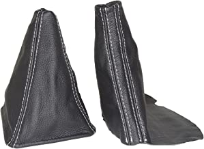 The Tuning-Shop Ltd for Toyota JZX Chaser 1996-2001 Shift & E Brake Boot Black Leather White Stitching