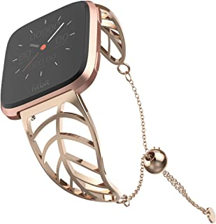 UooMoo Band Compatible with Fitbit Versa/Fitbit Versa 2, Leaf Shape Stainless Steel Bracelet Women for New Fitbit Versa 2 ...