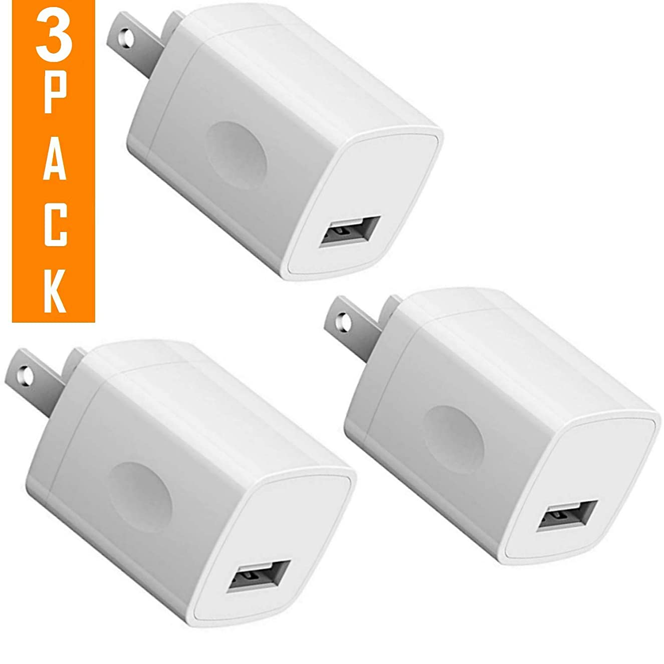USB Wall Charger, 5V /1A Universal Portable Travel Adapter High Speed Rapid 1.0A Output Compatible with iPhone iPad Apple iPhone, iPad, Samsung Galaxy, Note, HTC, LG & More (White) (3-Pack)