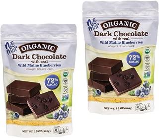 Nib Mor Organic Dark Vegan Chocolate Pieces with 72% Cacao - Wild Maine Blueberries, 18 Ounce (2 Pack)