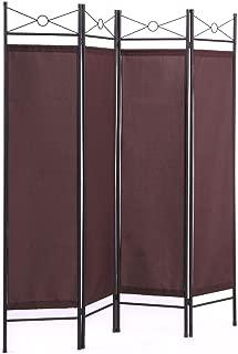 thegreatshopman 4 Panel Room Divider Folding Privacy Screens Home Office, Brown/White/Black