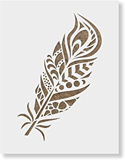 Peacock Feather Stencil Template for Walls and Crafts - Reusable Stencils for Painting in Small & Large Sizes