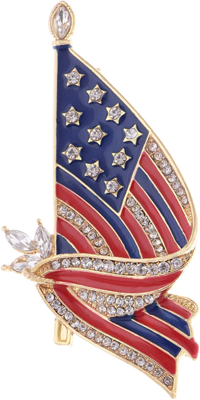 Raleigh Mall Inventory cleanup selling sale Alilang Golden Tone Clear Crystal Rhinestones 4th Stripes Enamel