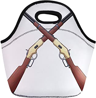 Semtomn Lunch Tote Bag Cowboy Rifles Crossed Is of Two Vintage in Gun Reusable Neoprene Insulated Thermal Outdoor Picnic Lunchbox for Men Women