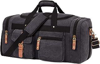 Plambag Oversized Canvas Duffel Bag Overnight Travel Tote Weekender Bag(Dark Grey)
