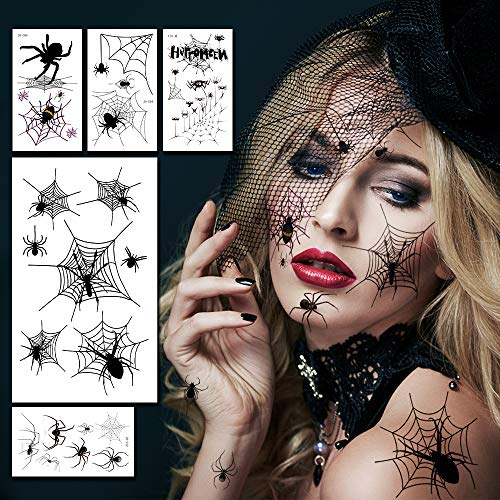 Halloween Spider Face Tattoos for Women, Halloween Spiders Makeup Stickers for Kids/Adults, Spider Makeup Face Tattoo for Witch Costume Temporary Tattoo Decal Props