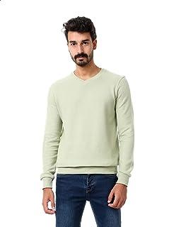 Andora Basic Ribbed Trim V-Neck Long Sleeves Pullover for Men