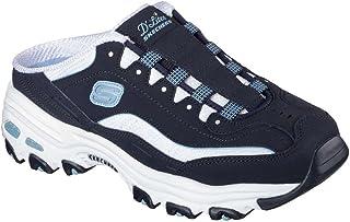 Skechers DLites Set in Stone Womens Slip On Sneaker Clogs Navy/White 6.5